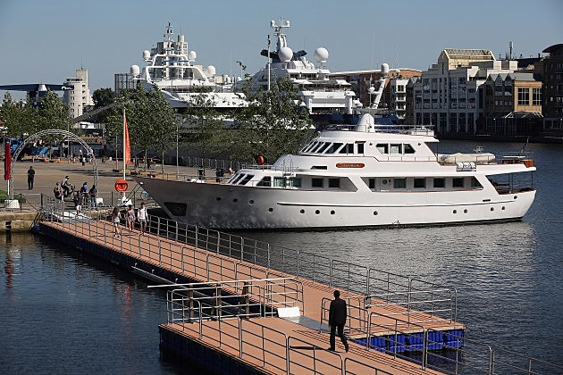 Super Yachts Moored In South Quay As Their Owners Visit London Ahead Of The Olympics
