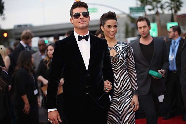 Robin Thicke & Paula Patton @ 56th GRAMMY Awards - Red Carpet Jan 26, 2014