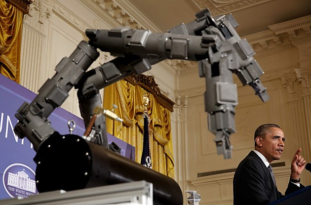 President Obama Speaks About Manufacturing Innovation Institutes In East Room Of White House, Feb. 25, 2014