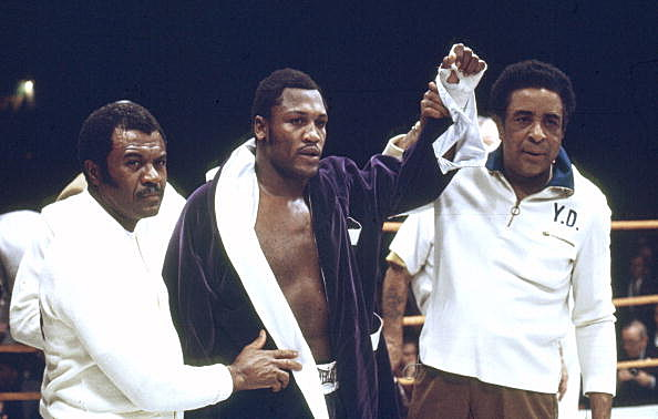 Sport Boxing. World Heavyweight Championship. Los Angeles. pic: 15th January 1972. Joe Frazier, USA, after beating Terry Daniels to retain his title , the fight ending with the referee stopping the fight in the 4th round. Frazier's trainer Yank Durham is