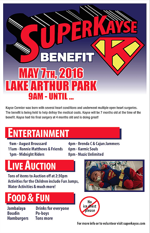 Benefit for 6-Month-Old Kayse Cormier of Lake Arthur, La.