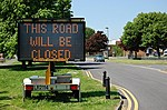 Road closure sign on Coniston Road, Patchway, Bristol.