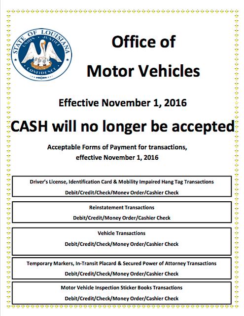 Louisiana Omv No Longer Accepting Cash Effective Nov 1