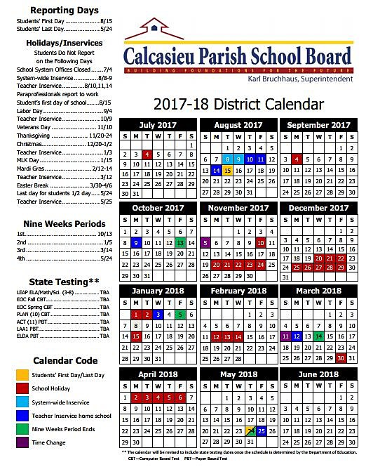 Don Davis Lake Jackson >> Louisiana School Board 2017 - 2018 School Year Calendars ...