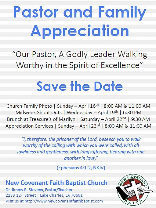 Pastor Appreciation Day - New Covenant Faith Baptist Church